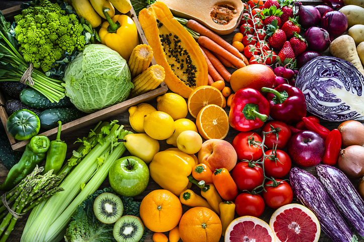 Healthy fresh rainbow colored fruits and vegetables