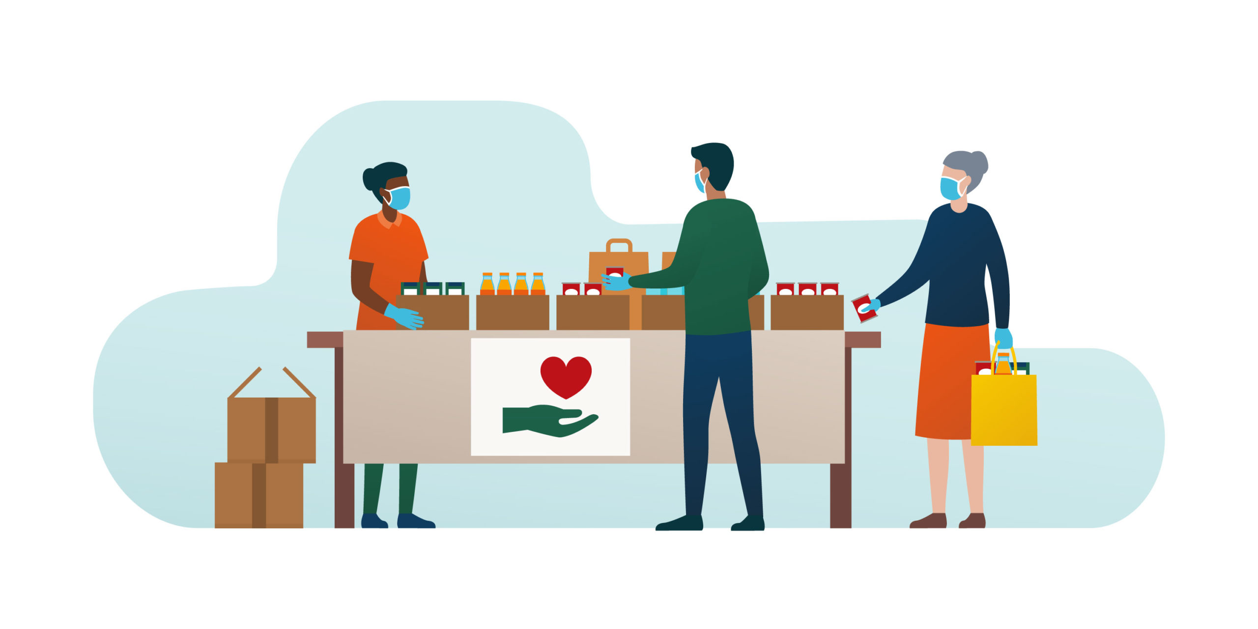 Illustration of a food bank with three people