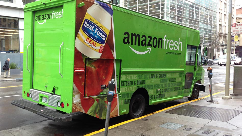 Amazon Fresh Truck Delivers Groceries in the City