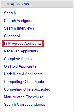 Applicants Tab