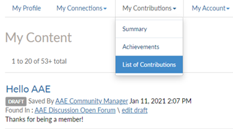 My Contributions > List of Contributions