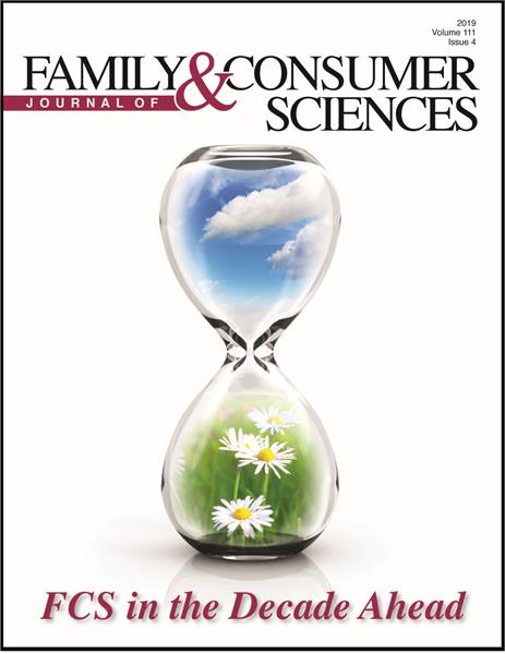 Cover of the 111,4 issue of the Journal of Family & Consumer Sciences. Cover image is an hourglass with a blue sky and white clouds in the top and grass and yellow and white daisies in the bottom. The issue title at the bottom is