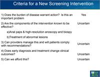 Check list if screening is beneficial