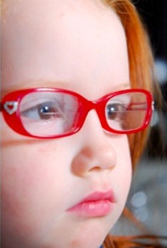 Child wearing well-fitting bifocal