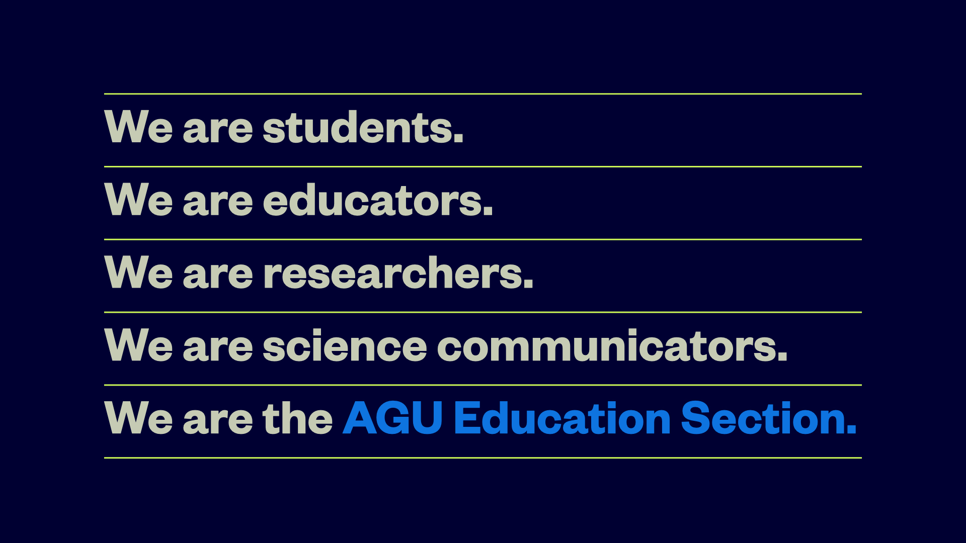 We are the AGU Education Section.