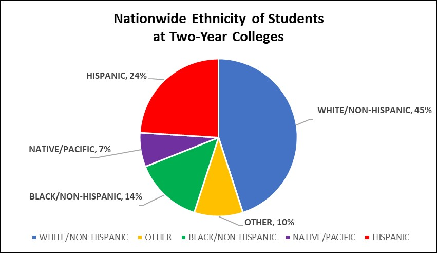 Graph of Nationwide Ethnicity of Students at Two-Year Colleges