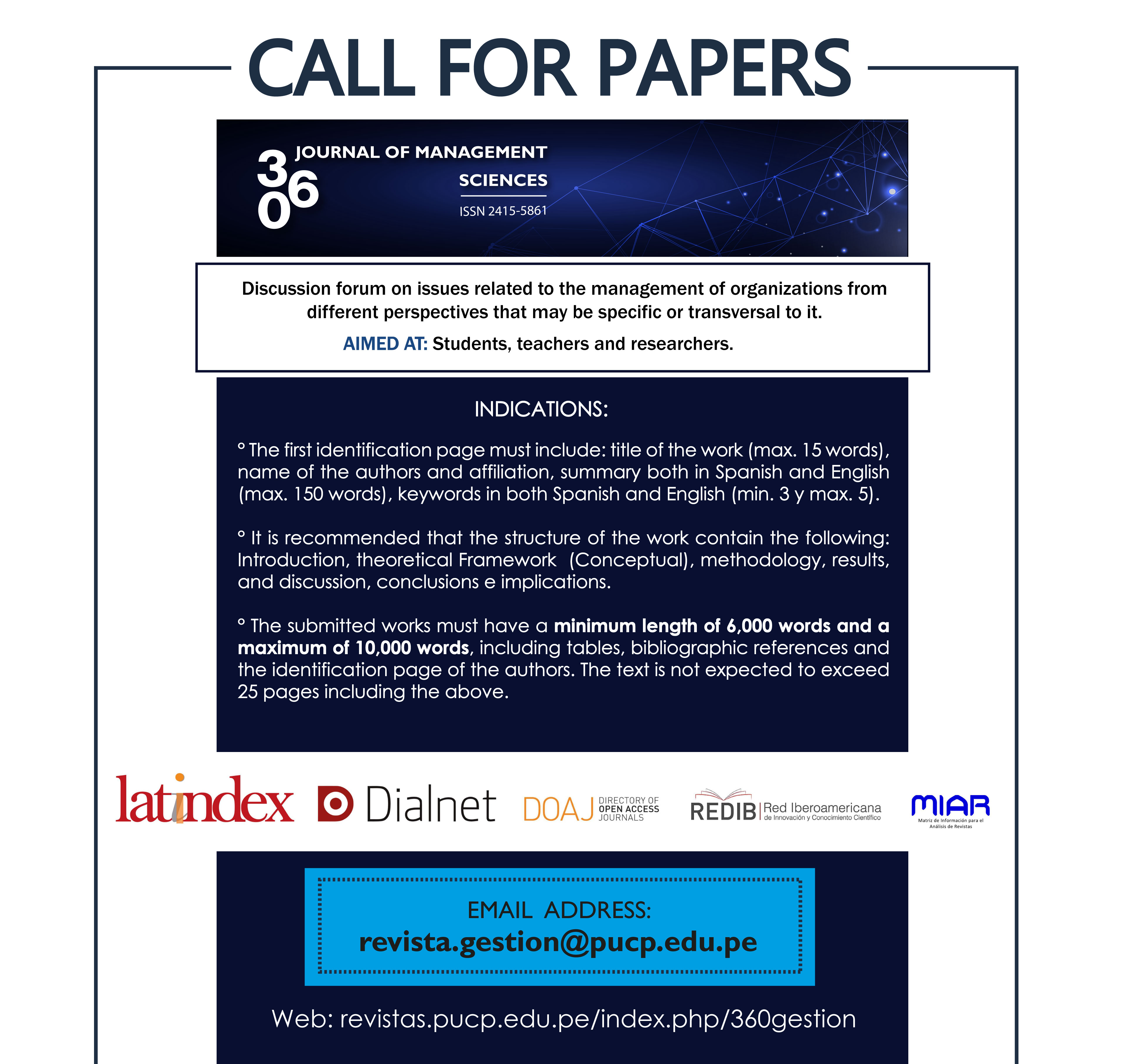 Call for Papers of 360 Journal of Management Sciences, PUCP University, Peru
