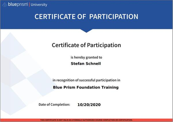 BPU Foundation Training Certificate of Participation
