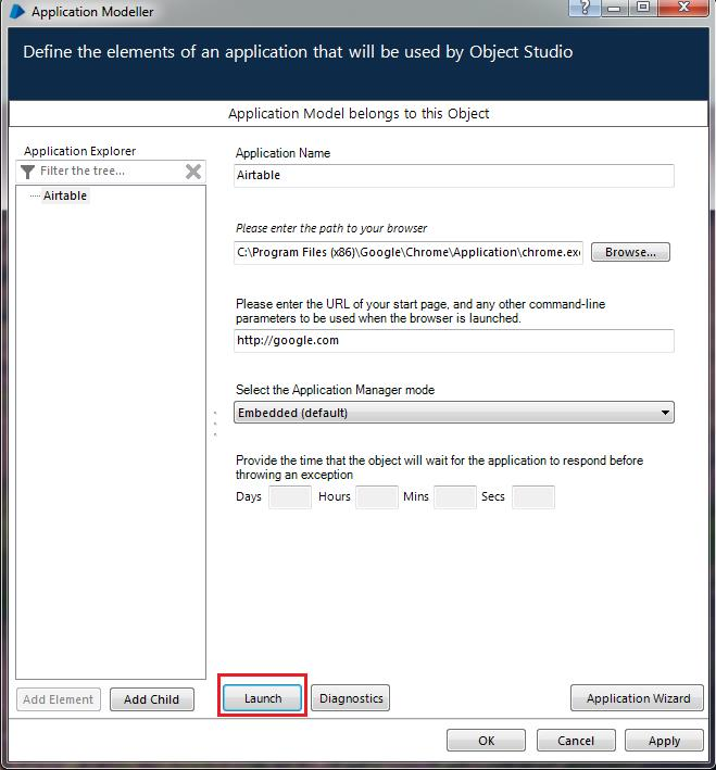 Launch button clicked on Application Modeller