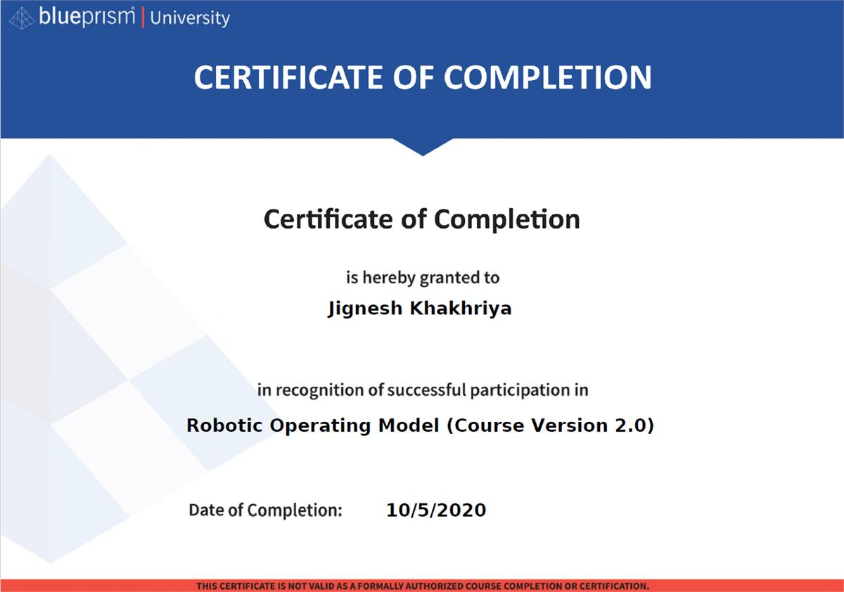 Robotic Operating Model Certificate