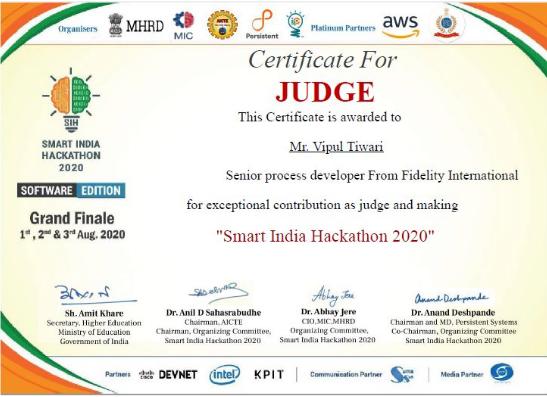Vipul's judge certificate