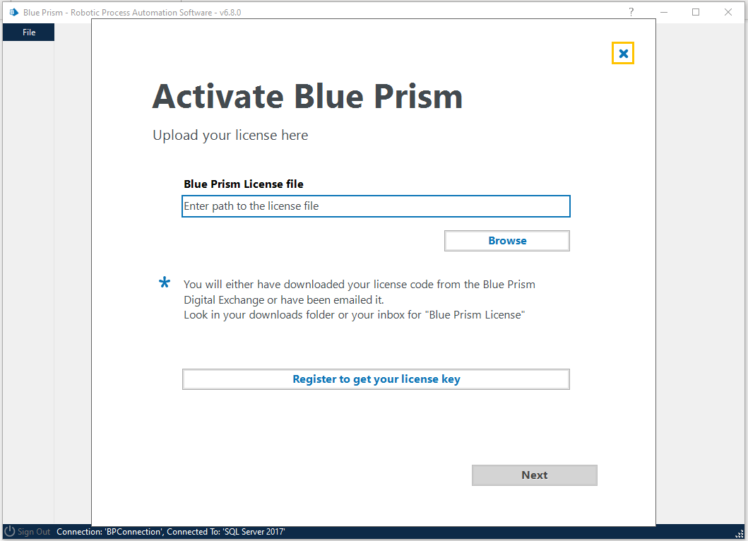 Activate Blue Prism screenshot