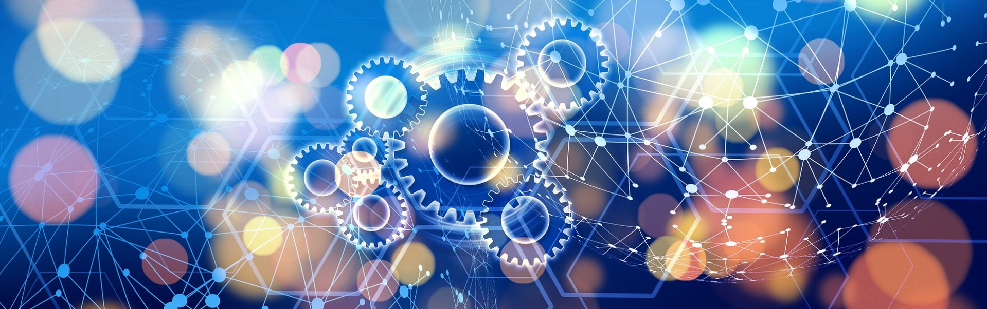 A picture of gears and networks, representing Analytics and Automation