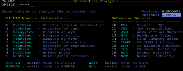 Fig. 1. The Interactive Analysis Menu in CA MAT