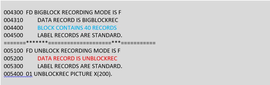 FD block from TUNCOB01 cobol source