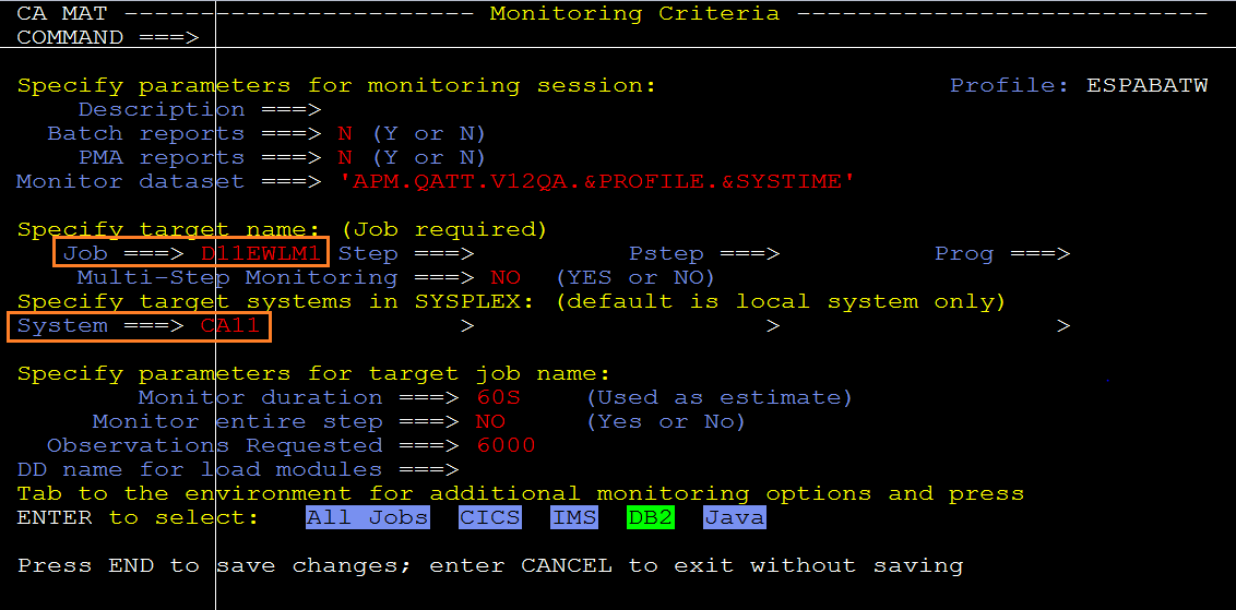 Fig.1 – Example Monitoring Criteria setup for WLM AS measurement.
