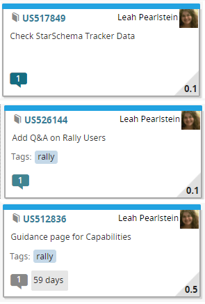 User Story Kanban cards with examples of different colors of discussion bubbles