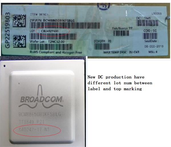 new DC production have different lot num on label and top marking