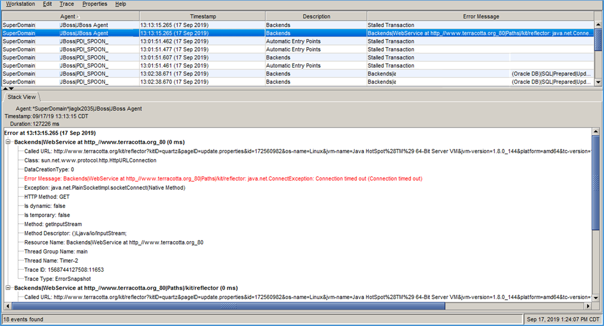A IM solution as viewed through the CA APM during startup and a 1K bulk load create user test