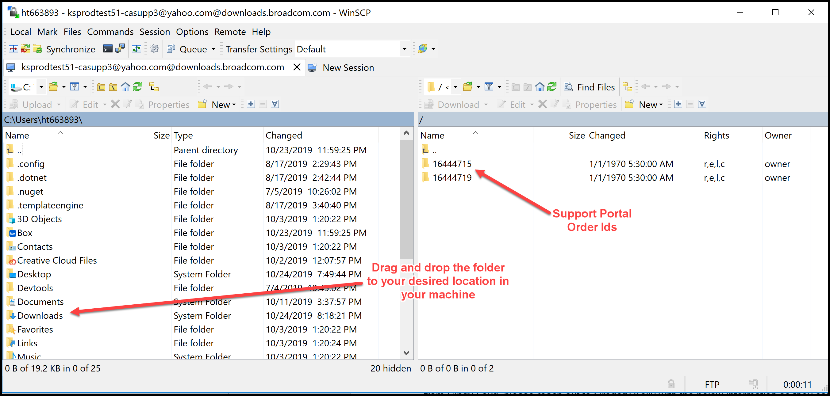 CA Support Portal FTP Downloads using WinSCP