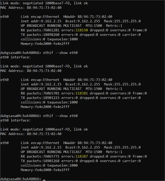RX errors increasing during FOS upgarde