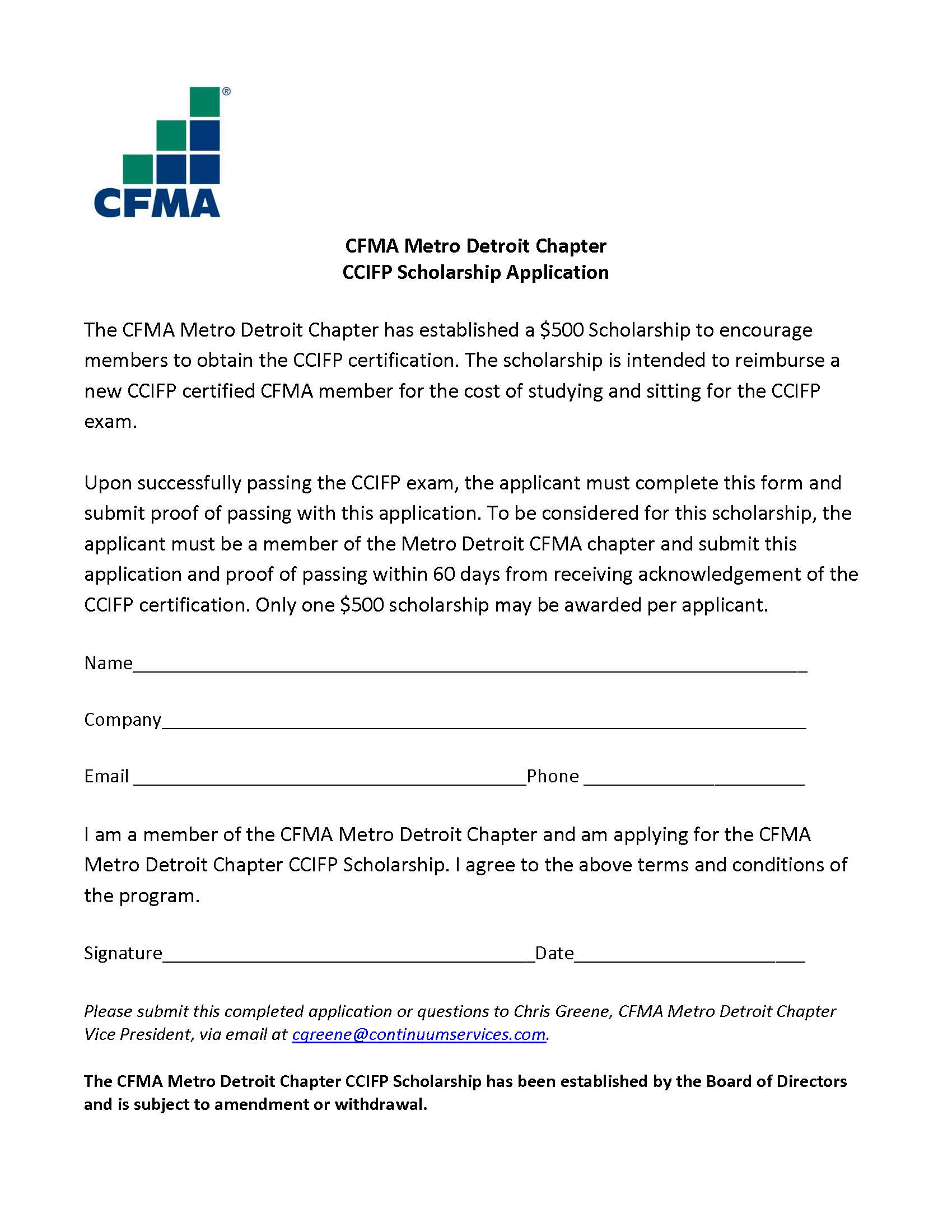 CFMA Scholarship Application