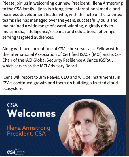 Announcement of Illena Armstrong joining CSA as President.