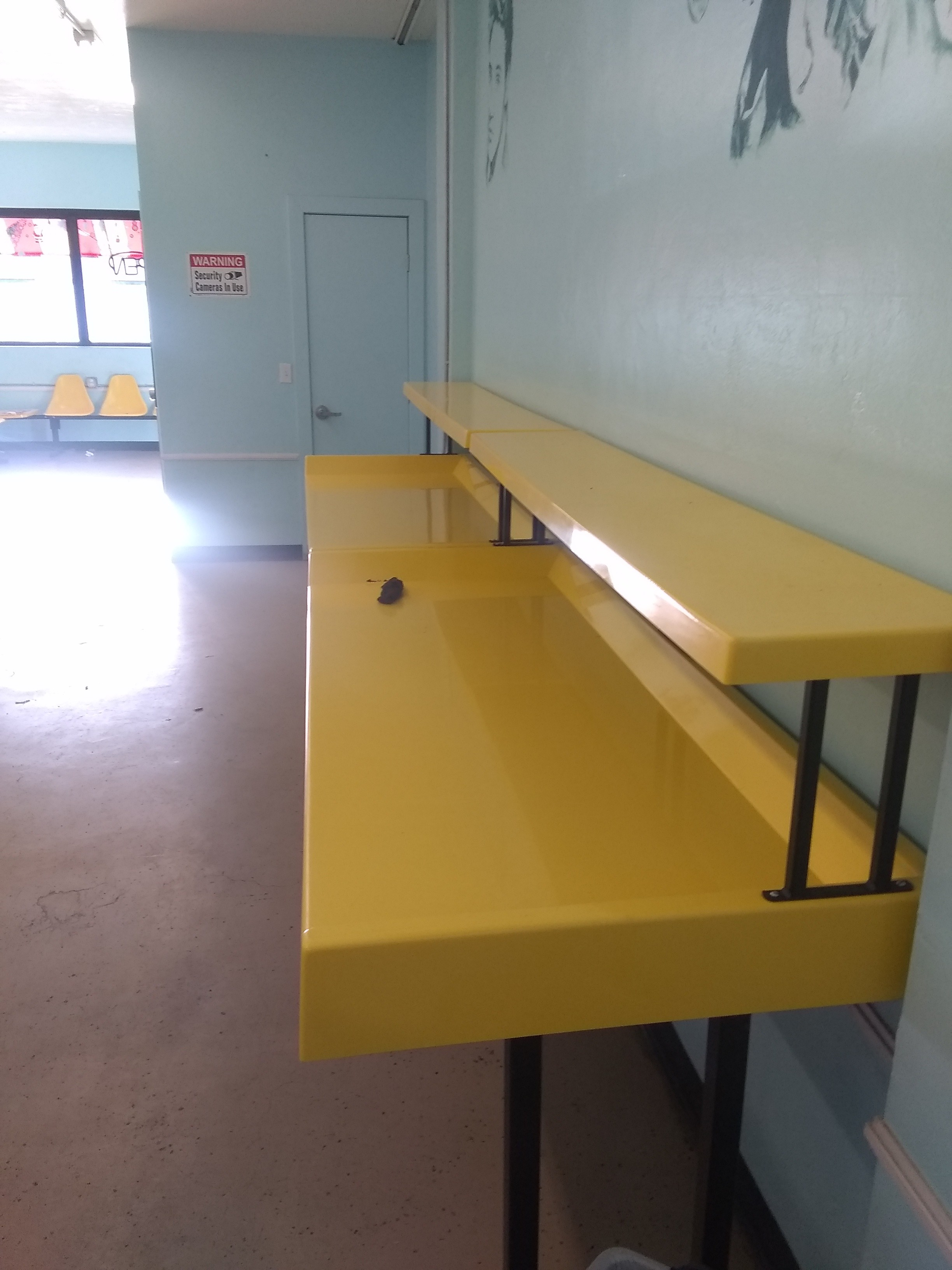 4 yellow folding tables with shelf and 5 chair sets less than 3 years old 1800 for all cash only no shipping 520 406 3126 located in tucson az