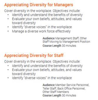 Listing of diversity courses