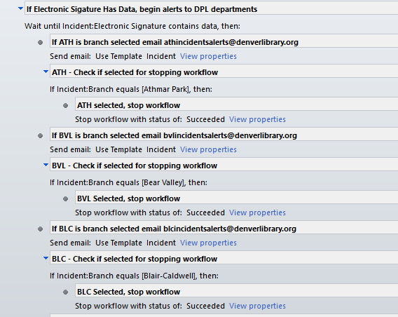 screen shot of workflow where multiple emails are happening