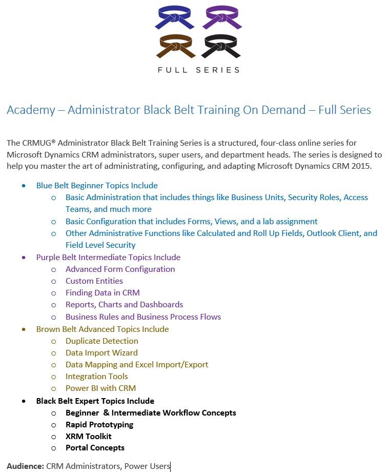 Black Belt Training Series