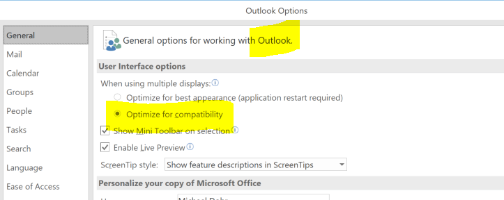 Outlook Options- Compatibility Mode