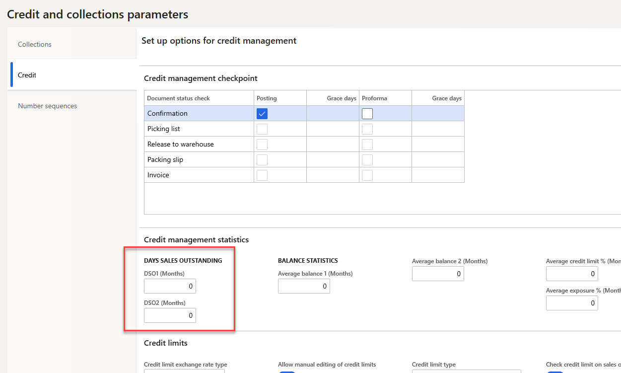 DSO in Credit and collections parameters