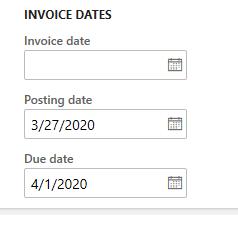 Invoice posting date 3/27
