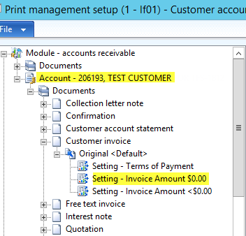 Print Management Conditional Settings for new customer