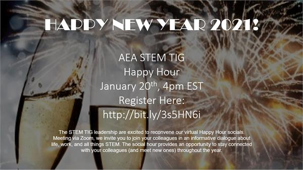 A flyer for the STEM TIG Happy Hour on January 20, 2021 at 4pm EST.