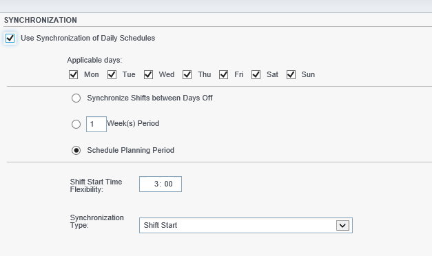 Contracts Synchronization tab