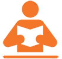 An orange icon of a person reading an open book