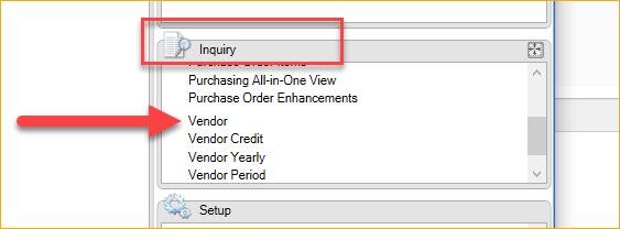 Vendor Inquiry Location in GP
