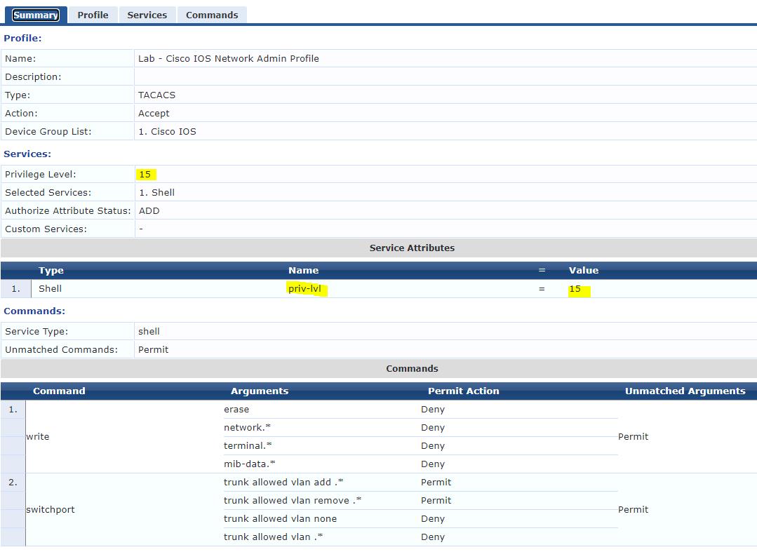 Aruba ClearPass Cisco IOS TACACs Profile