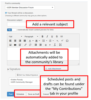 Add a subject line, include attachments, save drafts