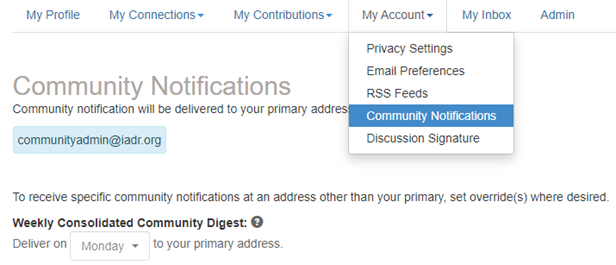 My Account > Community Notifications
