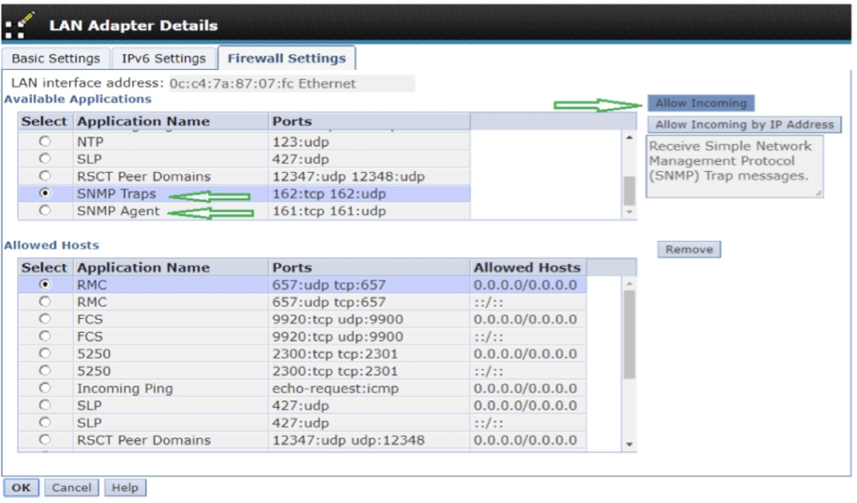 HMC BMC alerting firewall settings