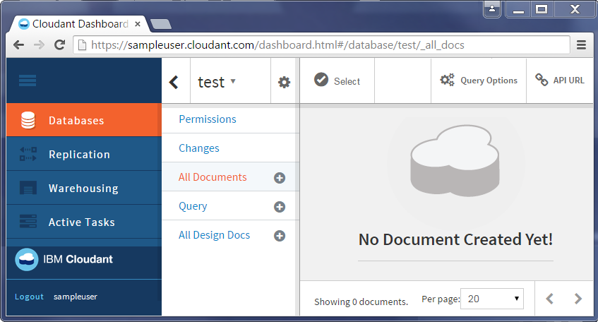 Cloudant database view