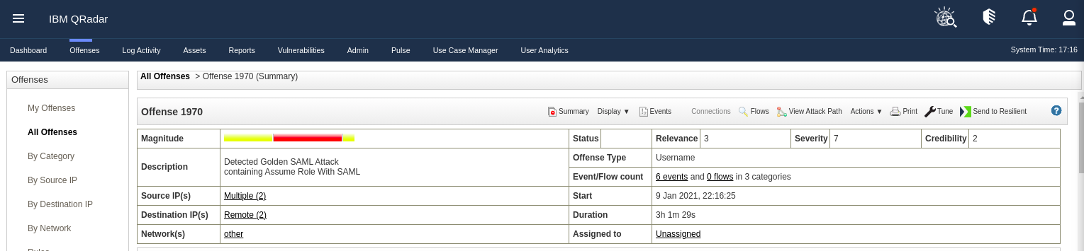 QRadar Detecting Golden SAML attack