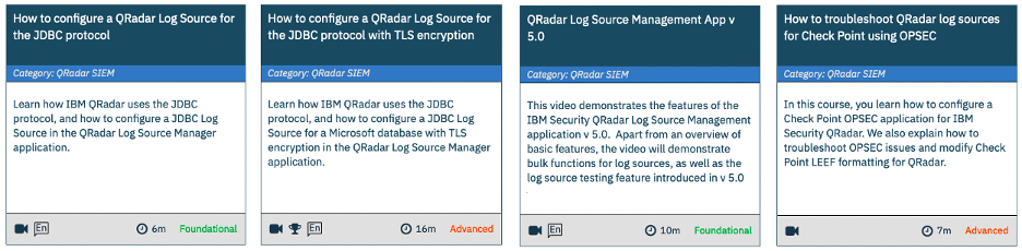 Recommended QRadar Log Source courses in the IBM Security Learning Academy