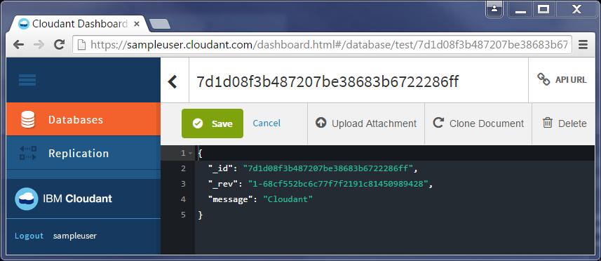 Cloudant document view