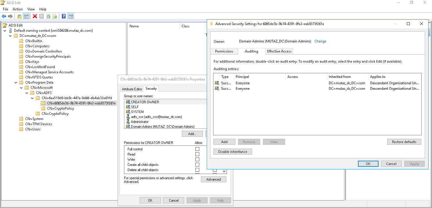Enable auditing of 4662 for the thumbnailPhoto attribute part 1