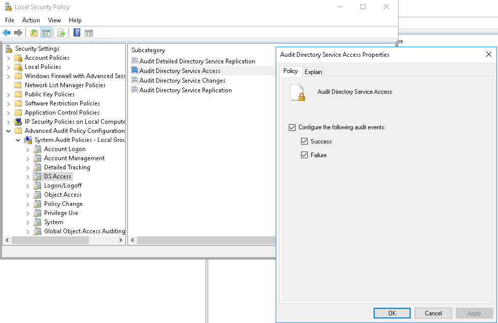 Enable auditing of 4662 event